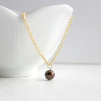 Simple Chocolate Brown Pearl and Gold Chain Minimalist Bracelet - Traditional Handmade Wedding Jewelry - Beaded Bracelet - Ready to Ship