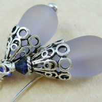 Lavender Sea Glass Teardrop with Fancy German Silver Bead Cap and Leverback Ear Wires