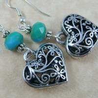 Fancy Silver Floral Heart Charm with Blue/Green Picasso Rondelle