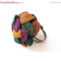 Autumn SALE Autumn leaves, Pile of colorful fall leaves, polymer clay adjustable ring