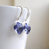 Tanzanite Purple Swarovski Crystal Earrings Wedding Jewelry Bridal Earrings Foiled Cushion Stone Sterling Silver Estate Style