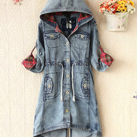 Hooded denim jacket waist stitching swallowtail JCFBG