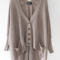 Lazy loose bat hollow sweater A 072902 -755