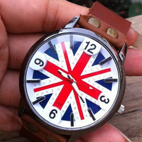 Retro style watch,  the Union Flag wristwatch bracelet, Brown Real Leather Bracelet  Watch, Handmade Women's Watch, Everyday Bracelet  PB081