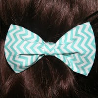 Blue, Aqua, and White Chevron Bow - Clip On ,