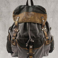 Genuine Cow leather backpack canvas BACKPACKS  canvas bag / laptop backpack / canvas backpack / Men's leather canvas Bag