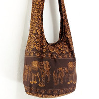 Handbags Cotton Elephant bag Printed Hippie bag Hobo by veradashop