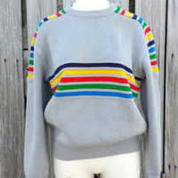 Vintage 1970s Sweater Gray w Stripes Rainbow Multi Colored Size M/L