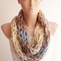 Winter Accessories-Infinity Scarf - Loop Scarf - Circle Scarf - Cowl Scarf - Mohair Angora - Winter Color-Chunky Chain Cozy