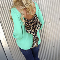 Classic Leopard Bow Blouse - GREEN | The Rage