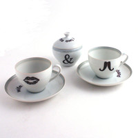 Husband & Wife Couple Redesigned  2 Coffee Espresso Cups with Saucers and Sugar Pot Porcelaiin Moustache  Lips Vintage White Wedding Present