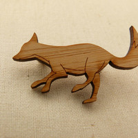 Fox brooch  laser cut jewellery made with eco by onehappyleaf