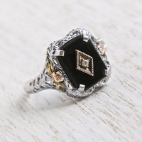 Antique Art Deco 10K White Gold Filigree Ring - Vintage 1920s Onyx Black Stone & Diamond Fine Jewelry / Pat. 1926 Rose, Yellow Gold Flowers