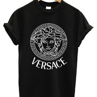 Hot VERSACE Printed Logo Men Cotton Black and by Antonishop99