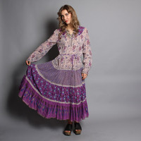 70s Gauze BOHO DRESS / Purple & Metallic Gold Indian Cotton, sml