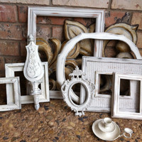 White Shabby Chic Vintage Frame Set Mother Goose Open by FeFiFoFun