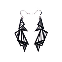 geometric abstraction multi triangle acrylic earrings (black)