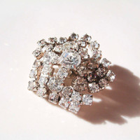 Vintage Pot Metal Pentagon Rhinestone Brooch Mad Men Style