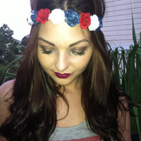 Patriotic Red White and Blue Flower Headband