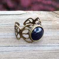 New ~~ Stellaria - Heart Filigree Lace and Blue Goldstone Ring - Adjustable