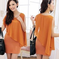Korean Womens Faux 2 Pcs Asymmetric Chiffon Patchwork Mini Dress Hip Wrapped 1HQ