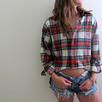 Hi Low Plaid Shirt Flannel Womens High Lo Cropped Crop Top Red Tunic Button Up Down Grunge Size Large Baggie Oversized Western