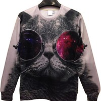 Cool Cat Graphic Sweatshirt - OASAP.com