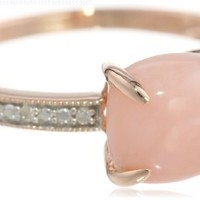 10k Rose Gold Pink Opal and Diamond Ring, (0.03 cttw, G-H Color, I1-I2 Clarity):Amazon:Jewelry