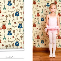 mm0139w - Bonjour Lapin Kids French Wallpaper
