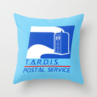 TARDIS Postal Service Throw Pillow by LookHUMAN