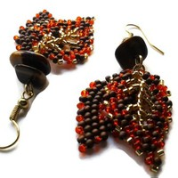 Falling Leaves Orange Bronze Gold Double Leaf Hand Beaded Earrings