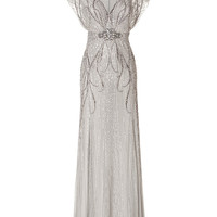 Jenny Packham - Sequin Embellished Gown in Platinum