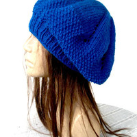 Womens hat Hand Knit Hat   beret in  Cobalt Blue  Slouchy  Beanie   Back To School Fall Autumn  Fashion gifts  Winter Accessories