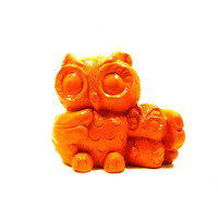 halloween owl figurine, orange home decor, owls, figurines, upcycled, bright, mod, retro