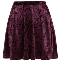 Teens Burgundy Velvet Skater Skirt