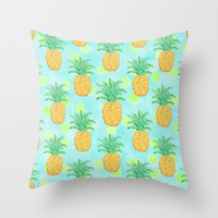 Pineapples and Polka Dots (pattern) Throw Pillow by Lisa Argyropoulos