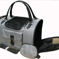Houndstooth Print Tote Pet Dog Cat Carrier/Shoulder Purse With Matching Treats Purse Travel Airline Bag Black/White