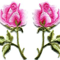 Pink roses pair flowers floral retro boho hippie applique iron-on patch S-498