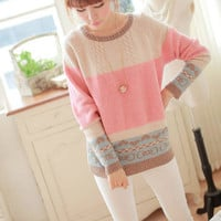 Elegant Sweet Mixing Color Heart Print Sweater