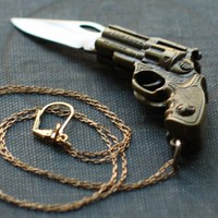 Revolver Gun Shaped Pocket Knife Necklace