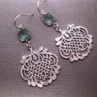 925 Sterling Silver With Prasiolite Green Oriental Chandelier Dangle Earrings