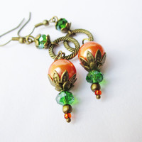 Orange Pearl & Green Crystal Dangly Bronze Earrings