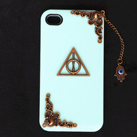 iPhone 4, 4s Cover, Case, iPhone 5 Cover, the Deathly Hallows Case, Harry Potter Cover, Evil Eye Case, Hamsa Hand, Phoenix Cover, Mint Green