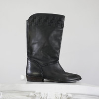 Vintage Black Leather Boots - 1970s Retro Size 7 7.5 Shoes - Brazil Sutton Plaza / Weaved Detail