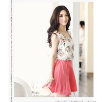 Women's Flower Pattern Sleeveless Chiffon Comfort Summer Skirt Mini Dress #542