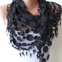 Black Lace Shawl / Scarf with Lace Edge by SwedishShop on Etsy
