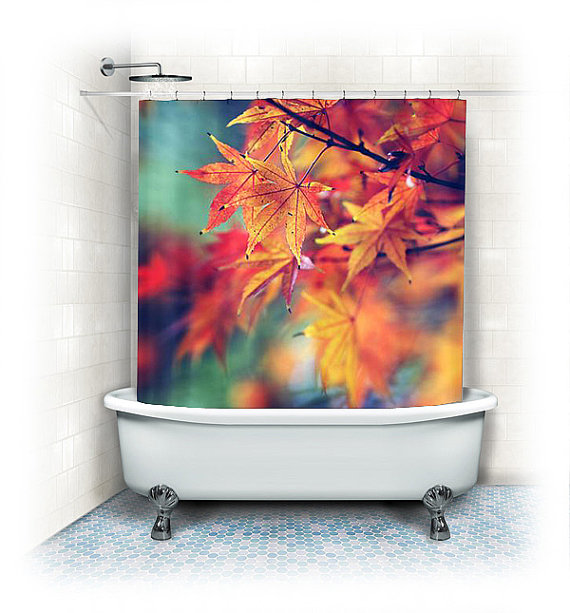 Fabric shower curtain fall leaves from vintage chic images for Fall bathroom sets
