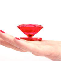 Big Red Statement Glass Ring - big bold handmade statement cocktail ring - ROCKIN RED - 1.5 inch