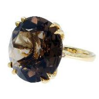 David Alan 18k Yellow Gold Diamond Smoky Quartz Cocktail Ring - Rings - Jewelry | Portero Luxury