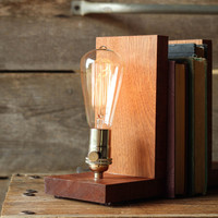 Signature Bookends Sapele Wood, Edison Bulb Lamp